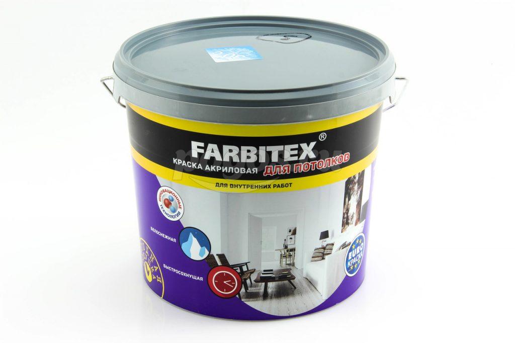 Краска акриловая для потолков FARBITEX